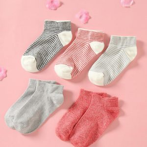 Set of 5 Socks, Red & Gry
